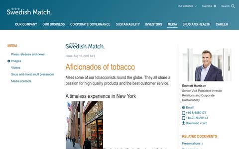 Screenshot of Press Page swedishmatch.com - Swedish Match - Aficionados of tobacco - captured Nov. 1, 2018