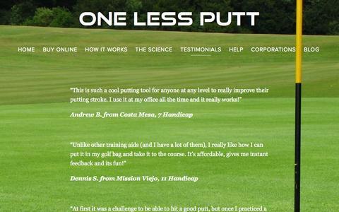 Screenshot of Testimonials Page one-less-putt.com - Testimonials of One Less Putt — One Less Putt - captured Oct. 9, 2014