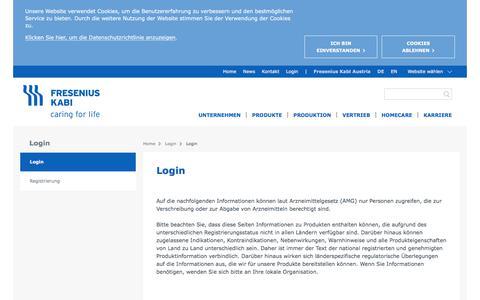 Screenshot of Login Page fresenius-kabi.com - Login - Fresenius Kabi Austria - captured June 4, 2018