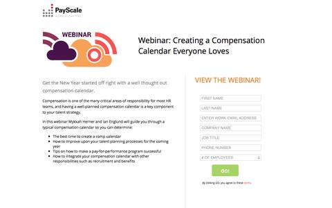 Screenshot of Landing Page payscale.com - Creating a Compensation Calendar Everyone Loves - captured Sept. 12, 2018