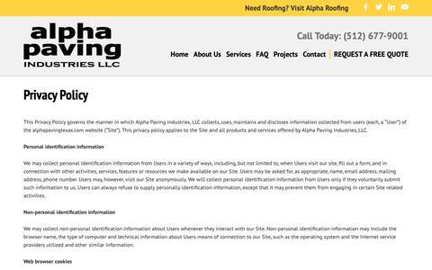 Screenshot of Privacy Page alphapavingtexas.com - Privacy Policy - Alpha Paving Industries - captured Oct. 3, 2018
