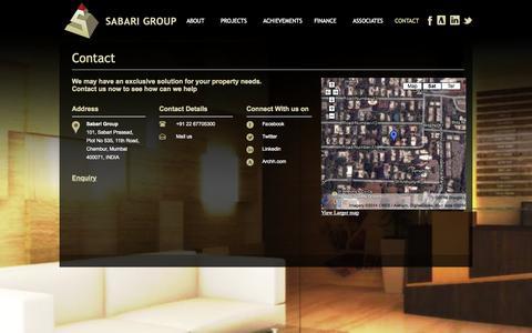 Screenshot of Contact Page sabari.co - Contact-Sabari - captured Oct. 3, 2014