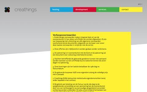 Screenshot of Terms Page creathings.be - Main | Creathings - captured Sept. 30, 2014