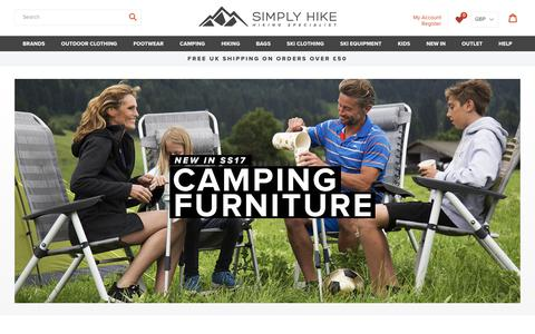 Screenshot of Home Page simplyhike.co.uk - Hiking Clothing & Equipment | Simply Hike UK - captured Aug. 1, 2017