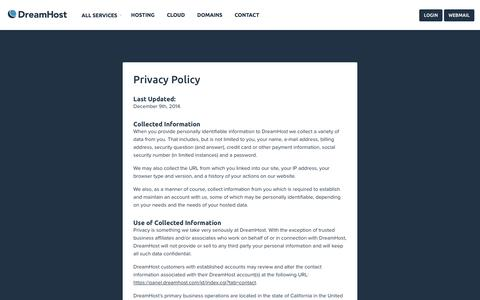 Screenshot of Privacy Page dreamhost.com - Privacy Policy – DreamHost - captured Feb. 14, 2016