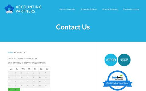 Screenshot of Contact Page accountingpartners.ca - Contact Us - Accounting Partners - captured Sept. 30, 2014