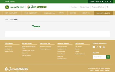 Screenshot of Terms Page green-diamond.ca - Terms - Green Diamond Equipment - captured Sept. 30, 2018
