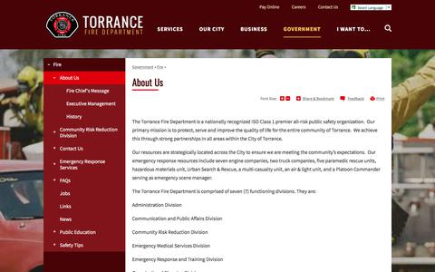 Screenshot of About Page torranceca.gov - About Us | City of Torrance - captured Aug. 1, 2017