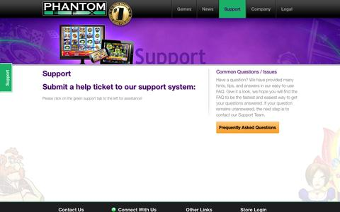 Screenshot of Support Page phantomefx.com - Support : Williams Interactive / Phantom EFX - captured Oct. 28, 2014
