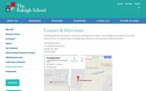 Screenshot of Contact Page Maps & Directions Page raleighschool.org - Contact & Directions - The Raleigh School - captured Oct. 23, 2017