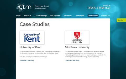 Screenshot of Case Studies Page ctm.travel - Case Studies - captured Oct. 2, 2014