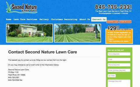 Screenshot of Contact Page secondnaturelawncare.com - Lawn service, tree and shrub care serving Rockland, Westchester, Orange NY and Bergen NJ - captured Oct. 6, 2014