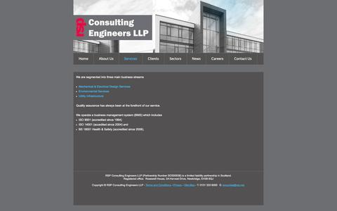 Screenshot of Services Page rsp.net - RSP Consulting Engineers LLP - Services - captured Feb. 22, 2016