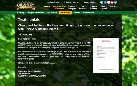 Screenshot of Testimonials Page discoverydreamhomes.com - Testimonials - Discovery Dream Homes Ltd - captured Sept. 30, 2014