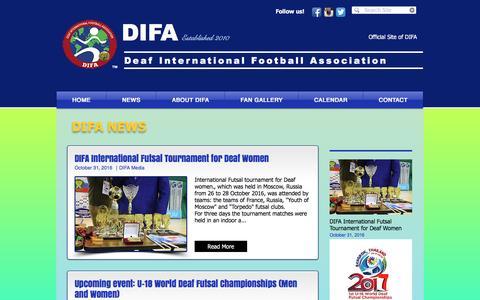 Screenshot of Press Page difa-org.com - difa-world | NEWS - captured Nov. 24, 2016