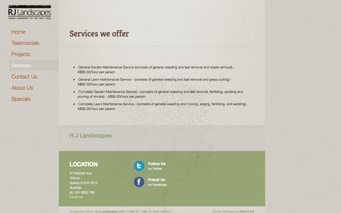 Screenshot of Services Page rjlandscapes.com.au - Services - captured Oct. 7, 2014