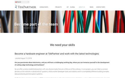 Screenshot of Jobs Page tekpartner.dk - Become part of the team - TekPartner - captured Sept. 20, 2018