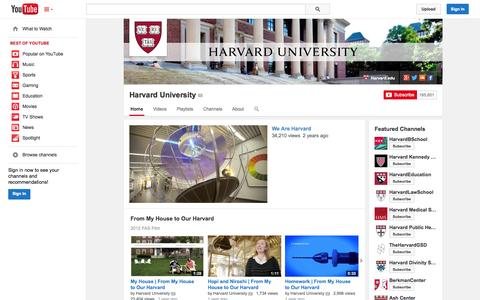 Screenshot of YouTube Page youtube.com - Harvard University  - YouTube - captured Oct. 22, 2014