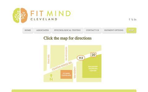 Screenshot of Maps & Directions Page fitmindcleveland.com - Fit Mind Cleveland - Map - captured Sept. 30, 2014