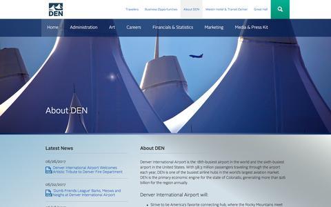 Screenshot of About Page flydenver.com - About DEN   Denver International Airport - captured June 29, 2017