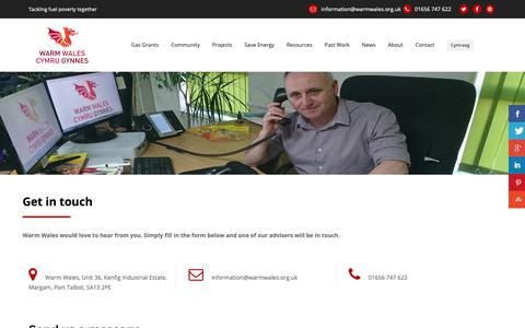 Screenshot of Contact Page warmwales.org.uk - Contact Warm Wales by phone, email or contact form - captured Oct. 18, 2018