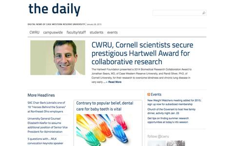Screenshot of Home Page cwru-daily.com - Case Western Reserve University - captured Jan. 26, 2015