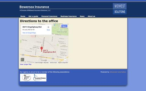 Screenshot of Maps & Directions Page biaco.com - Directions to the office   Bowersox Insurance Agency - captured Oct. 5, 2014