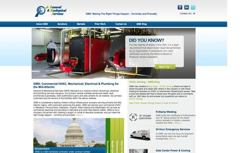 Screenshot of Home Page gms-hvac.com - GMS | Commercial HVAC, Mechanical, Electrical, Plumbing in Maryland - captured Sept. 20, 2015