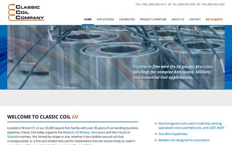 Screenshot of Home Page classic-coil.com - Electromagnetic, Medical, Nuclear, Encapsulated Coils - captured Sept. 28, 2018