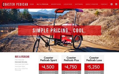 Screenshot of Pricing Page coasterpedicab.com - Pedicab Pricing Ń Coaster Pedicab - captured Dec. 10, 2015