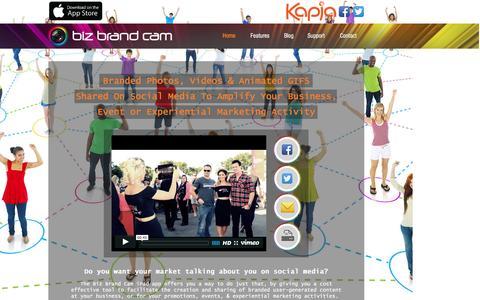 Screenshot of Home Page bizbrandcam.com - Biz Brand Cam: Social Media Enabled Branded Photo & Video Sharing App - captured Feb. 12, 2016