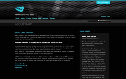 Screenshot of About Page rawfm.com.au - Raw FM - Dance Floor Radio | About Raw - captured Oct. 9, 2014