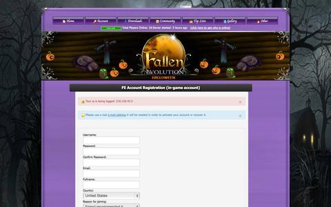 Screenshot of Signup Page fallen-evolution.com - .:Fallen Evolution:. - captured Nov. 2, 2014