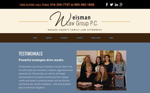 Screenshot of Testimonials Page weismanpc.com - Weisman Law Group PC Testimonials | Family & Divorce Attorney | Long Island, Nassau County, Queens NY - captured Jan. 23, 2016