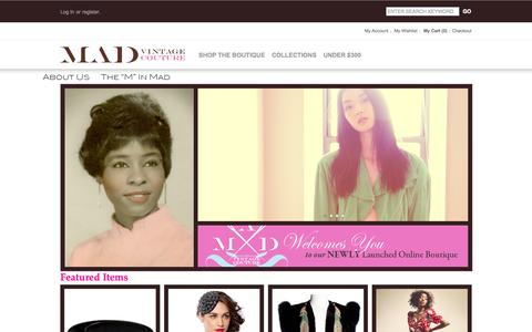 Screenshot of Home Page madvintagecouture.com - MAD Vintage Couture - captured Sept. 30, 2014