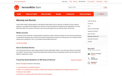 Screenshot of Support Page hermanmiller.com - Warranty and Service - Herman Miller Official Store - captured May 8, 2017