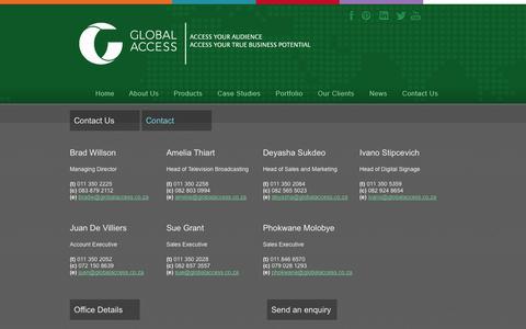 Screenshot of Contact Page globalaccess.co.za - Contact us - captured Oct. 2, 2014