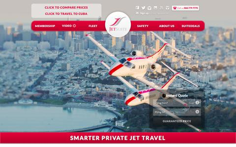 Screenshot of Home Page jetsuite.com - JetSuite | Private Jet Charter Flights – Private Jet Rental Service - captured Feb. 18, 2016