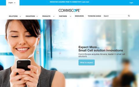 Screenshot of Home Page commscope.com - CommScope.com - captured Oct. 7, 2015