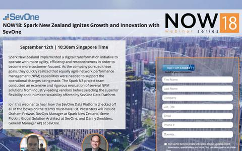 Screenshot of Landing Page sevone.com - NOW18:  Spark New Zealand Ignites Growth and Innovation with SevOne - captured Sept. 21, 2018