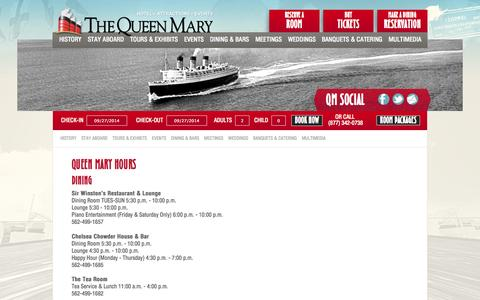Screenshot of Hours Page queenmary.com - Hours of the Queen Mary Long Beach - captured Sept. 25, 2014