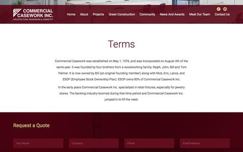 Screenshot of Terms Page commercialcasework.com - Terms - captured Aug. 18, 2017