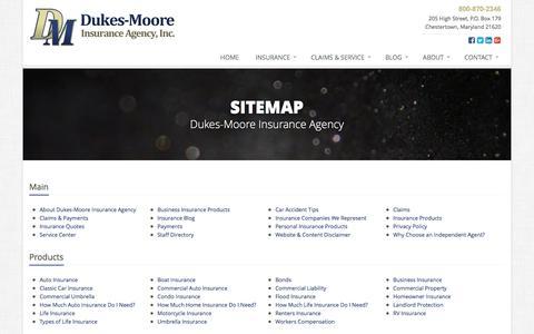 Screenshot of Site Map Page dukesmoore.com - Insurance Website Sitemap | Dukes-Moore Insurance Agency - captured Nov. 24, 2016