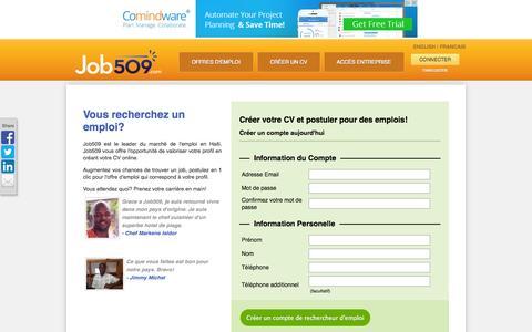 Screenshot of Signup Page job509.com - Job509 | Créer un CV - captured Sept. 25, 2014