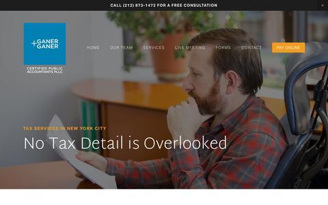 Screenshot of Services Page ganer.com - Tax Preparation — Ganer + Ganer - captured Dec. 14, 2018