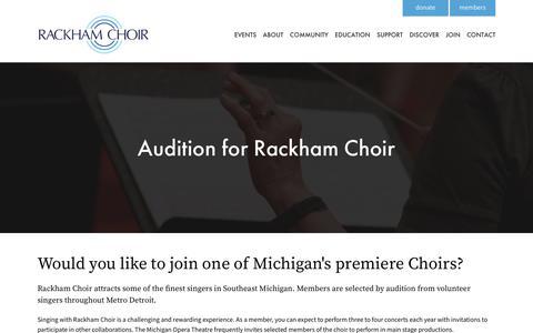 Screenshot of Signup Page rackhamchoir.org - Join - Rackham Choir | - captured Oct. 19, 2017