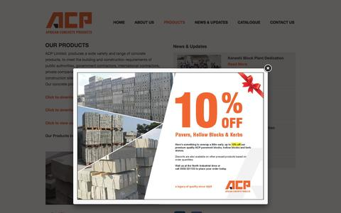 Screenshot of Products Page acp.com.gh - African Concrete Products (ACP): Products - captured March 30, 2016