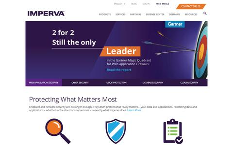 Screenshot of Home Page imperva.com - Imperva - Cyber Security Leader - captured Oct. 22, 2015