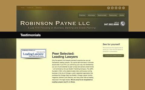 Screenshot of Testimonials Page robinsonpayne.com - Testimonials - Robinson Payne LLC - captured July 6, 2017