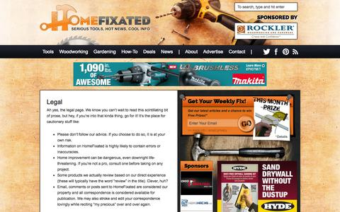 Screenshot of Terms Page homefixated.com - Legal - Home Fixated - captured Sept. 19, 2014